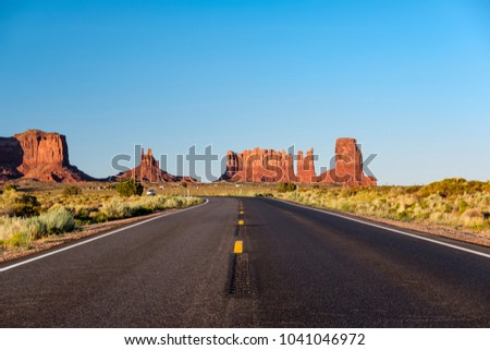 Empty scenic highway in Monument Valley, Arizona, USA - Shutterstock ID 1041046972