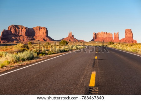 Empty scenic highway in Monument Valley, Arizona, USA - Shutterstock ID 788467840