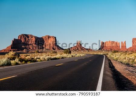 Empty scenic highway in Monument Valley, Arizona, USA - Shutterstock ID 790593187