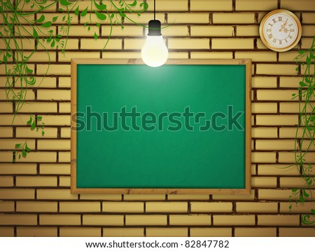 Empty school blackboard at brick wall near light bulb over green leaves