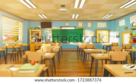 Empty school classroom in cartoon style. Education concept without students. 3d rendering interior illustration. Back to school design template.  Classroom in quarantine on coronavirus COVID-19.
