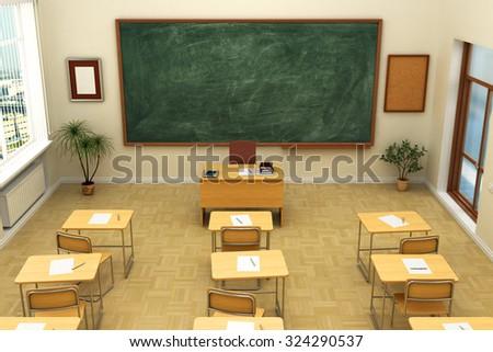 Empty school classroom with blackboard for training. 3D rendering. #324290537