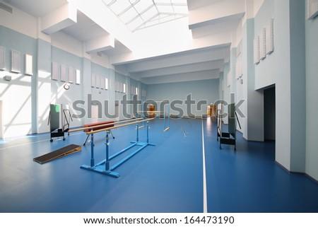 Empty school gymnasium with blue floor and gymnastic apparatus.