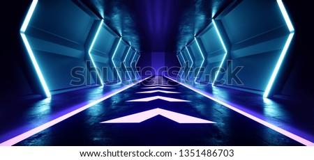 Empty Sci Fi Futuristic Dark Alien Spaceship Hall Tunnel Corridor Led Laser Arrow Shaped Floor Lights Glowing  Vibrant Blue Virtual Reality 3D Rendering Illustration