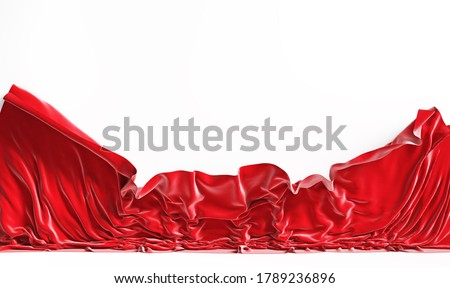Empty screen with falling red cloth. 3d illustration Stockfoto ©