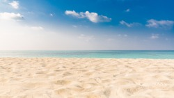 Empty sea and white sand on beach use as background with copy space. Beach landscape background design.