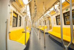 Empty Seats and handrails in trains.