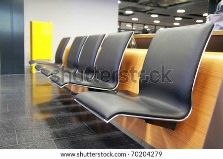 Empty seats at the airport in waiting area