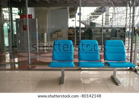 Empty seats in waiting room of  Suvarnabhumi airport, Bangkok, Thailand