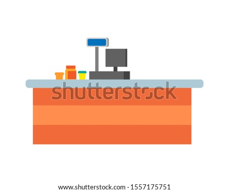 Empty seller counters and desks of cashier raster. Supermarket cash desk with computer, jars and glasses with products on desktop in store isolated icons