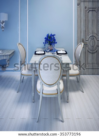 Empty served table forthree person. Gray Washed Wood Furniture. Blue molding walls. 3D render