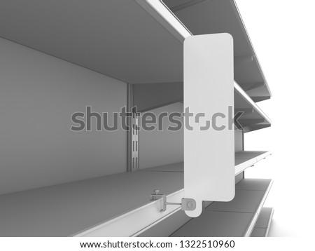 Empty Set Of Shelves With Blank Narrow Flag. Rectangle Shape Wobbler Shelf Ready For Branding 3D rendering