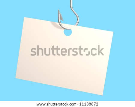 of a paper, hanging on a fishing hook. Objects over blue - stock photo