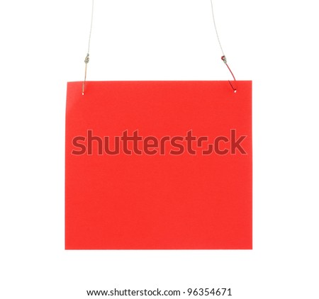 Empty sheet of a paper on fish hooks isolated on white