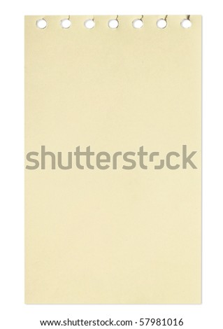 empty sheet of brown paper from a notebook in isolated