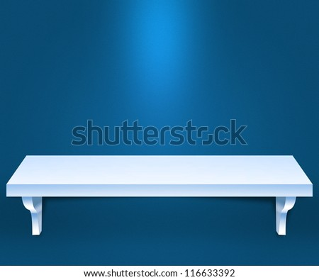 Empty Shelf Blue Background