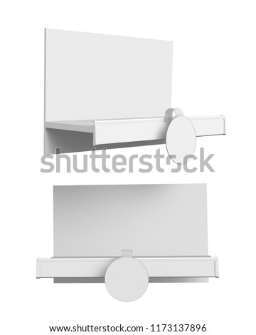 Empty Shelf Display And Wobbler. 3D rendering