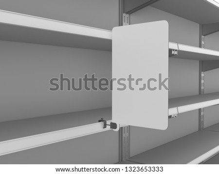 Empty Shelf With Blank Banner.. Rectangle Shape Shelf-Stopper With Space For Branding 3D rendering