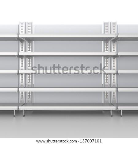 Empty shelves. 3d image - stock photo