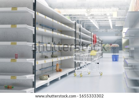 Empty shelves in supermarket store due to China novel coronavirus covid-19 (2019-nCoV) outbreak panic. Face masks are sold out. China, Italy, Iran, USA pathogen virus pandemic spread 3D illustration Сток-фото ©