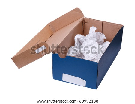 Empty shoe box made of rough paper and card. Concepts of recycling, re-use of objects, frugality, shopping. Add your own copy. Isolated on white  background