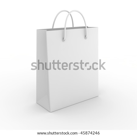 Empty shopping bag on white background. Computer generated image.