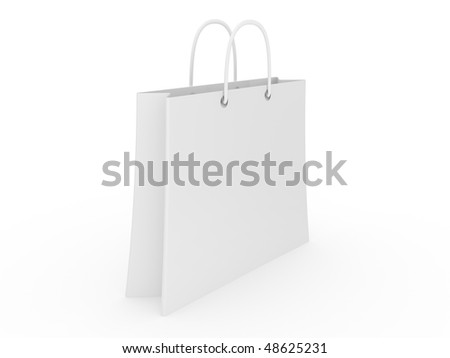 Empty shopping bag on white background. 3d image