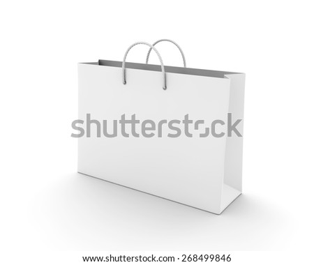 Empty Shopping Bag on white for advertising and branding
