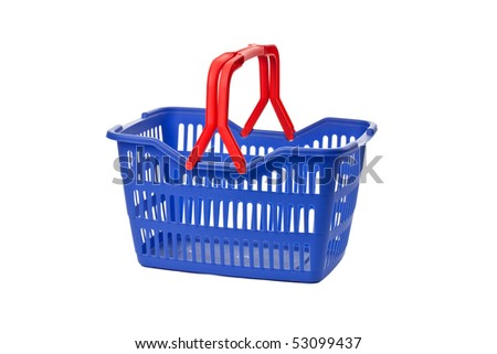 empty shopping basket on white background
