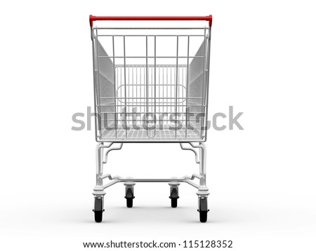 Empty shopping cart, back view, isolated on white background.