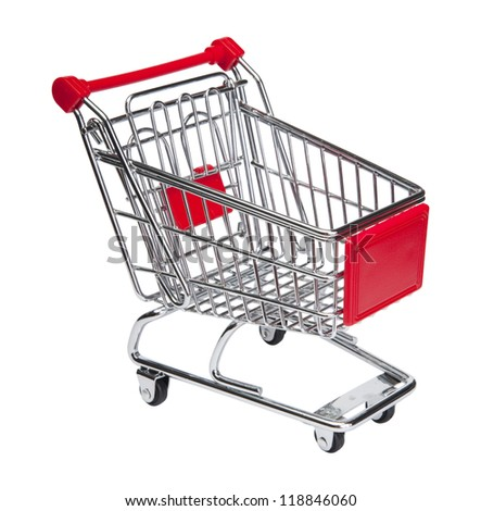 Empty shopping cart. Isolated on white with clipping path.