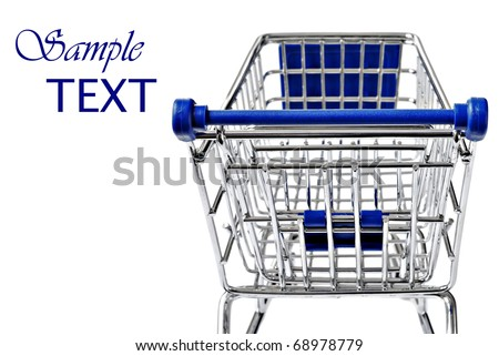 Empty shopping cart on white background with copy space.  Closeup with extremely shallow dof.