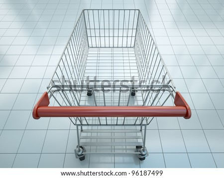Empty shopping cart seen from shopper's perspective. 3D render.