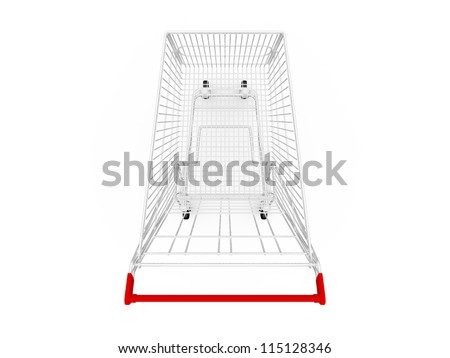 Empty shopping cart, top view, isolated on white background.