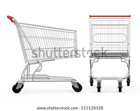 Cart Side Empty Shopping Carts Side