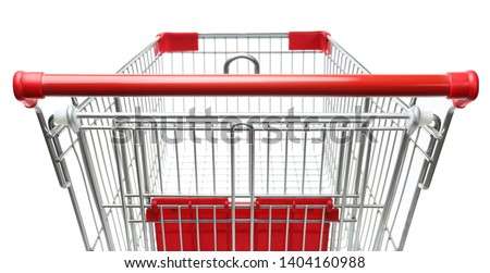 Empty shopping trolley isolated on white, closeup