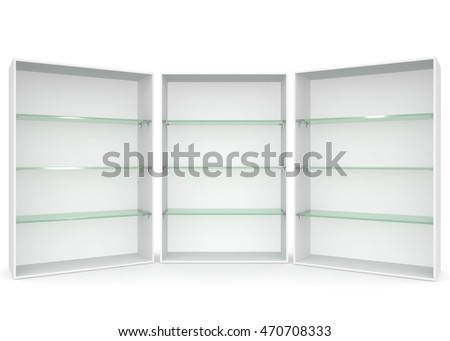 Empty showcase with glass shelves on white isolated background. 3D illustration #470708333