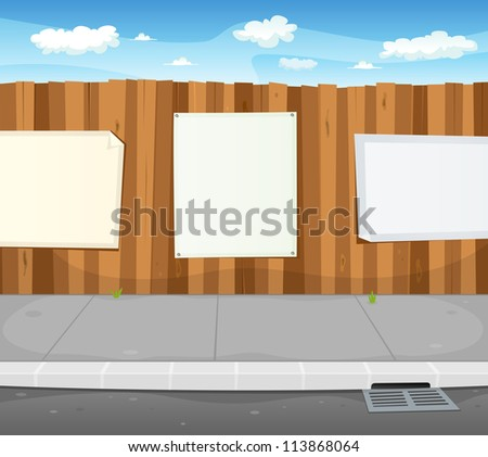 Empty Signs On Urban Wood Fence/ Illustration of a cartoon urban scene with wood fence and white billboard with copy space for your advertisement