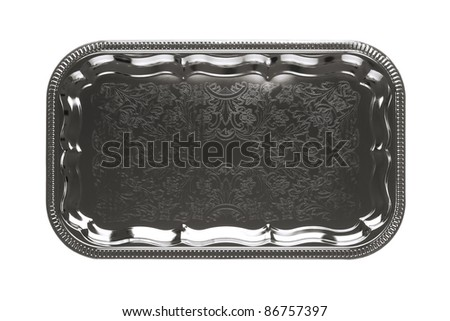 Empty silver tray with floral ornament isolated on white background