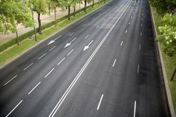Empty six-lane avenue, no traffic
