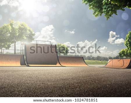 empty skating park in the sunny day