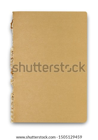Empty sketchbook top view, isolated on white background. Kraft color, light brown sketchbook.
