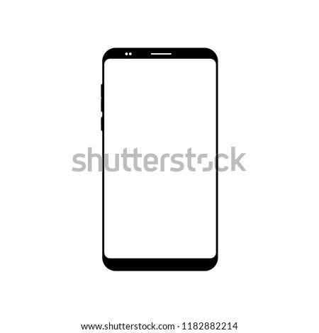 Empty smartphone icon. Cell phone symbol. Mobile gadget, PDA template