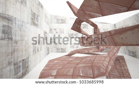 Empty smooth abstract room interior of sheets rusted metal with gray concrete. Architectural background. 3D illustration and rendering