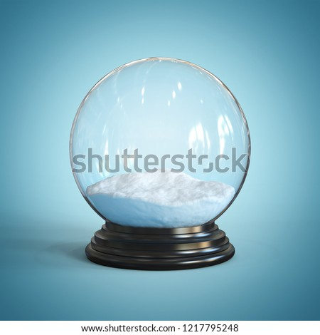 Empty snow globe 3d rendering
