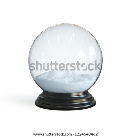 Empty snow globe 3d rendering