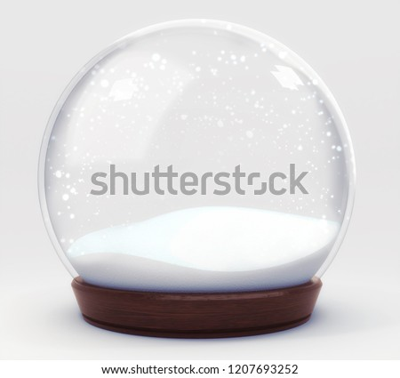 empty snowball decoration isolated on white background, glass ball winter seasonal christmas decoration 3d illustration rendering