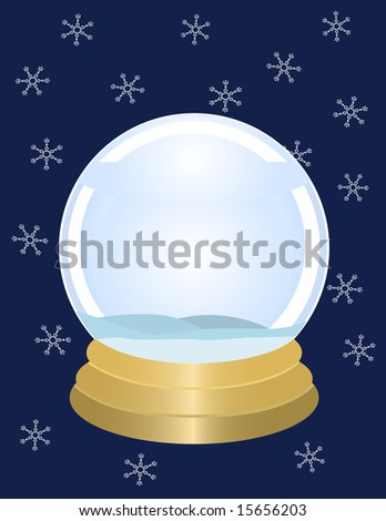 Empty snowglobe on gold base with snowflakes on navy blue. Vector also available.