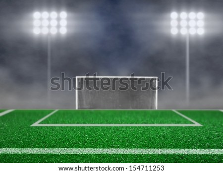 Empty Soccer Field and Spotlight with Smoke