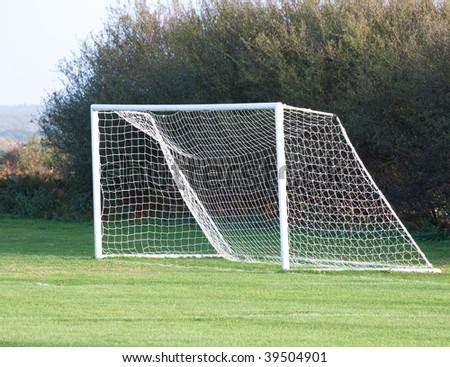 Empty soccer goal on a sunny day